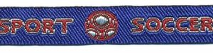 Rood-zilver-blauw voetbal 'soccer sport' sierband 12 mm (ca. 22 m)