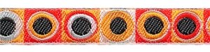 Oranje-zwart-rood-wit retro sierband 12 mm (ca. 22 m)