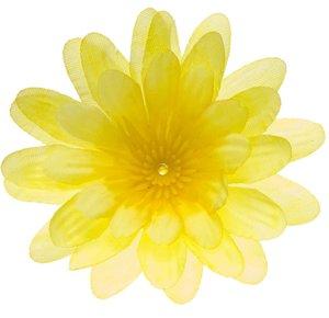 Gerbera NEON geel stof klein ca. 6,5 cm (10 stuks)