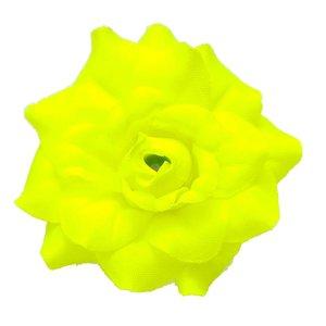 Roos NEON geel stof ca. 4,5 cm (10 stuks)