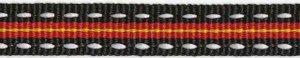 Zwart-rood-geel-wit stippel/streep grosgrain/ribsband 10 mm (ca. 25 m)