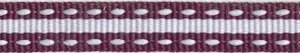 Aubergine-wit stippel/streep grosgrain/ribsband 10 mm (ca. 25 m)
