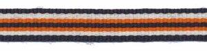 Donker blauw-creme-oranje streep grosgrain/ribsband 10 mm (ca. 25 m)