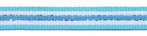 Aqua blauw-wit-zilver-blauw streep grosgrain/ribsband 10 mm (ca. 45 m)