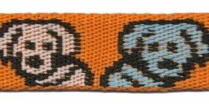 Tassenband 25 mm hondjes oranje/zwart/wit/blauw dubbelzijdig (ca. 5 m)