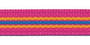 Tassenband 20 mm streep fuchsia/geel/blauw (ca. 5 m)