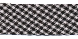 Zwart-wit geruit biaisband 25 mm (ca. 10 meter)