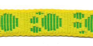 Tassenband 20 mm pootje geel/groen (ca. 5 m)