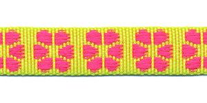 TUNNELband 15 mm bloem geel/roze (ca. 5 m)