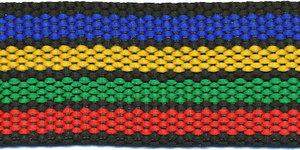 Tassenband 30 mm streep zwart/blauw/geel/groen/rood (ca. 5 m)