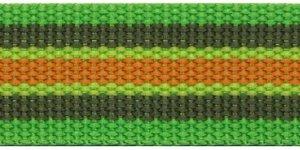 Tassenband 30 mm streep felgroen/legergroen/oranje (ca. 5 m)