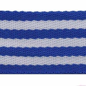 Tassenband 50 mm streep kobalt blauw/wit (ca. 5 m)