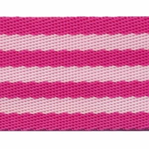Tassenband 50 mm streep roze/wit (ca. 5 m)
