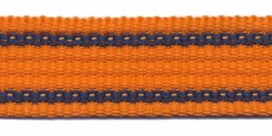 Tassenband 25 mm streep oranje/donker blauw EXTRA STEVIG (ca. 5 m)