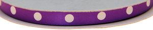 Paars dubbelzijdig satijnband met grote witte stippen 10 mm (ca. 30 m)