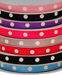 Set: 8 kleuren 10 mm satijnband met grote witte stippen (ca. 240 m)