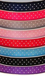 Set: 8 kleuren 13 mm satijnband met witte stippen (ca. 240 m)
