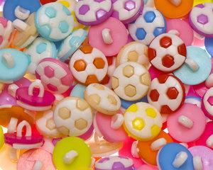 Kinderknoopje voetbal MIX kleuren ca. 13 mm (ca. 200 stuks)