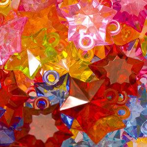 Bedel ster doorzichtig mix kleuren 22 x 22 mm (ca. 175 stuks)
