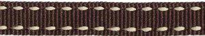 Bruin-creme stippel grosgrain/ribsband 10 mm (ca. 25 m)