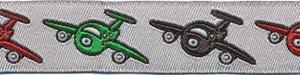 Grijs vliegtuigen sierband met rode, groene en donker grijze vliegtuigjes 15 mm (ca. 22 m)