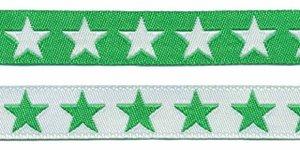 Groen sierband met witte sterren 2-zijdig 12 mm (ca. 22 m)