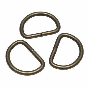 Metalen D-ring bronskleurig ZWAAR 38 mm (ca. 25 stuks)