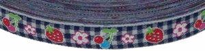 Donker blauw-wit geruit band met aardbei, kers en bloemetje 12 mm (ca. 22 m)