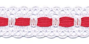 Wit kant met rood ingevlochten bandje 25 mm (ca. 16 meter)