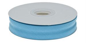 Aqua blauw gevouwen biaisband 20 mm (20 meter)