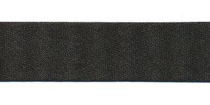 Zwart gevouwen satijnen biaisband 20 mm (25 meter)