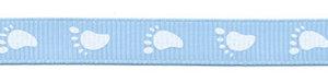 Blauw grosgrainband met witte voetjes 10 mm (ca. 20 m)