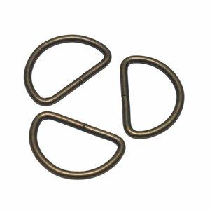 Metalen D-ring bronskleurig 30 mm (ca. 25 stuks)