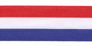 Rood-wit-blauw 'Nederlandse vlag' grosgrain/ribsband 25 mm (ca. 25 m)