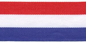 Rood-wit-blauw 'Nederlandse vlag' grosgrain/ribsband 30 mm (ca. 25 m)