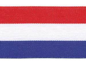 Rood-wit-blauw 'Nederlandse vlag' grosgrain/ribsband 40 mm (ca. 25 m)