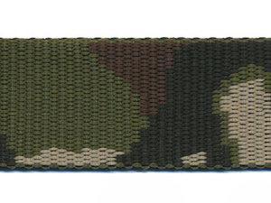 Tassenband 30 mm camouflageprint zwart/bruin/groen dubbelzijdig (ca. 5 m)