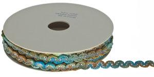 Multicolor zig zag band blauw-groen-oker-metallic 9 mm (ca. 10 m)