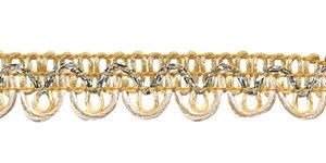 2-kleurig schulpband ivoor/goud-creme met zilverdraad 15 mm (ca. 16 meter)