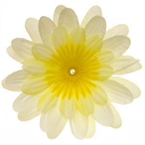 Gerbera vanille stof klein ca. 6,5 cm (10 stuks)