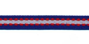 Kobalt blauw-wit met rood stiksel grosgrain band 10 mm (ca. 25 m)