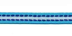 Aqua-wit met kobalt blauw stiksel grosgrain band 10 mm (ca. 25 m)