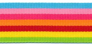 Blauw-roze-fuchsia-oranje-rood-geel-groen streep grosgrain/ribsband 30 mm (ca. 45 m)