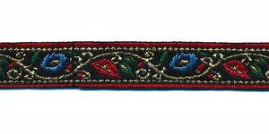 Zwart bloemband met rode en blauwe bloemetjes en goudkleurige draad 12 mm (ca. 22 m)