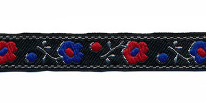 Zwart bloemband met kobalt blauwe en rode bloemen en zilveren sierrand 12 mm (ca. 22 m)
