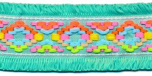 Appelblauwzeegroen franjeband Ibiza stijl met franjes aan beide zijden 45 mm (ca. 5 m)