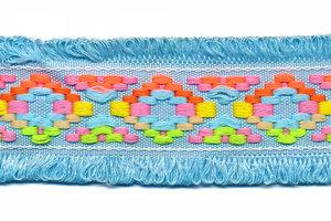 Licht blauw franjeband Ibiza stijl met franjes aan beide zijden 45 mm (ca. 5 m)