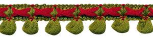 2-kleurig lusjesband legergroen-bordeaux 15 mm (ca. 16 meter)