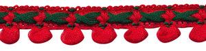 2-kleurig lusjesband rood-donker groen 15 mm (ca. 16 meter)