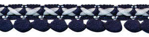 2-kleurig lusjesband donker blauw-wit 15 mm (ca. 16 meter)